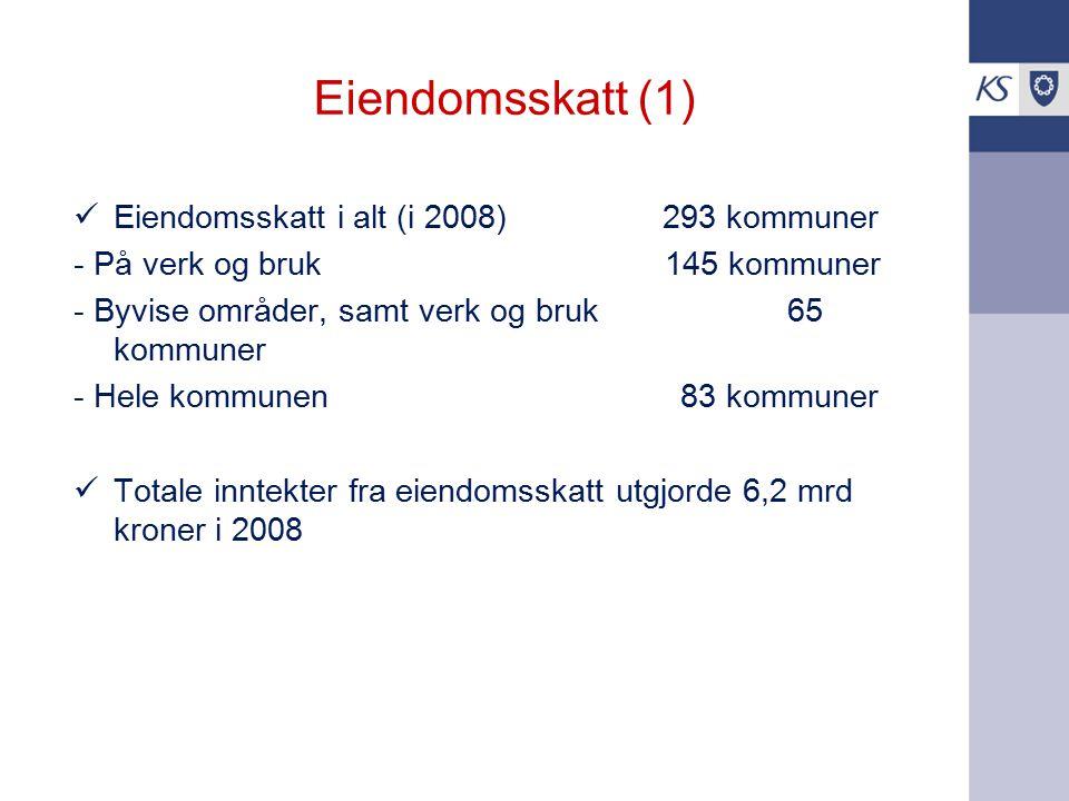 Eiendomsskatt (1) Eiendomsskatt i alt (i 2008) 293 kommuner - På verk og bruk 145 kommuner - Byvise områder, samt verk og bruk 65 kommuner - Hele komm