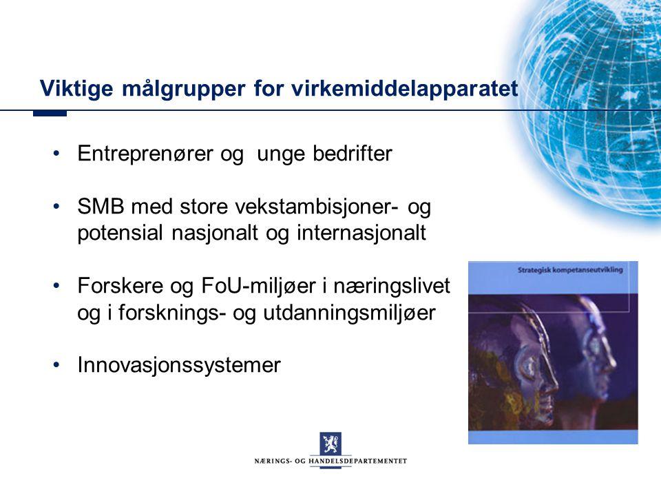 Viktige målgrupper for virkemiddelapparatet Entreprenører og unge bedrifter SMB med store vekstambisjoner- og potensial nasjonalt og internasjonalt Forskere og FoU-miljøer i næringslivet og i forsknings- og utdanningsmiljøer Innovasjonssystemer