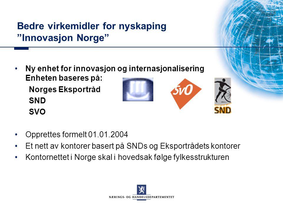 """Bedre virkemidler for nyskaping """"Innovasjon Norge"""" Ny enhet for innovasjon og internasjonalisering Enheten baseres på: Norges Eksportråd SND SVO Oppre"""