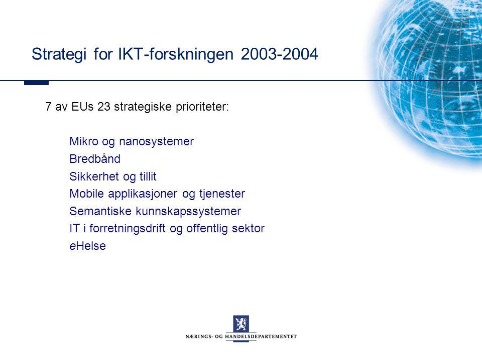 7 av EUs 23 strategiske prioriteter: Mikro og nanosystemer Bredbånd Sikkerhet og tillit Mobile applikasjoner og tjenester Semantiske kunnskapssystemer IT i forretningsdrift og offentlig sektor eHelse Strategi for IKT-forskningen 2003-2004