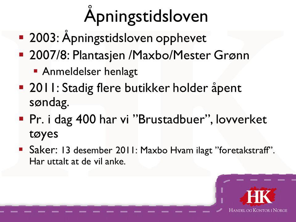 Åpningstidsloven  2003: Åpningstidsloven opphevet  2007/8: Plantasjen /Maxbo/Mester Grønn  Anmeldelser henlagt  2011: Stadig flere butikker holder åpent søndag.