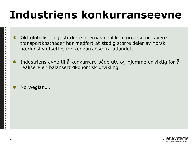 Industriens konkurranseevne Økt globalisering, sterkere internasjonal konkurranse og lavere transportkostnader har medført at stadig større deler av n