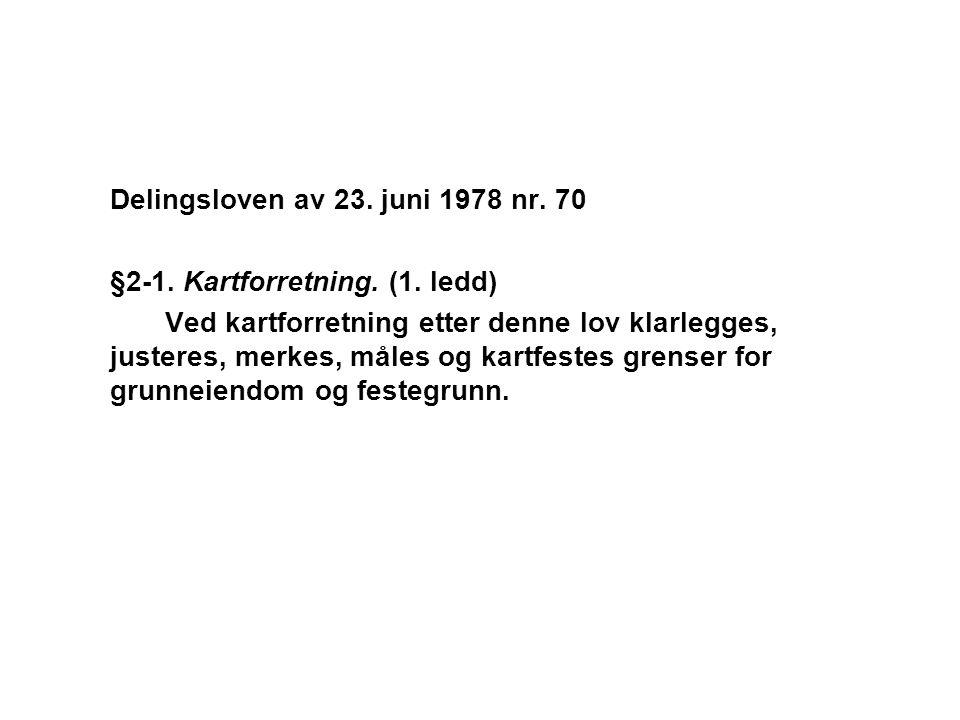 Delingsloven av 23. juni 1978 nr. 70 §2-1. Kartforretning. (1. ledd) Ved kartforretning etter denne lov klarlegges, justeres, merkes, måles og kartfes