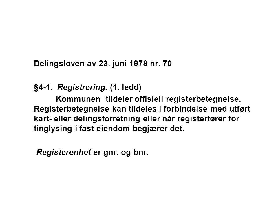 Delingsloven av 23. juni 1978 nr. 70 §4-1. Registrering. (1. ledd) Kommunen tildeler offisiell registerbetegnelse. Registerbetegnelse kan tildeles i f