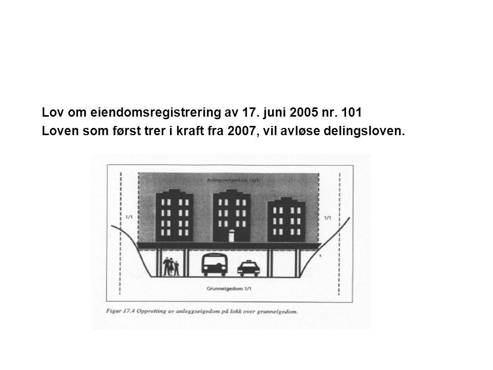 Lov om eiendomsregistrering av 17. juni 2005 nr. 101 Loven som først trer i kraft fra 2007, vil avløse delingsloven.