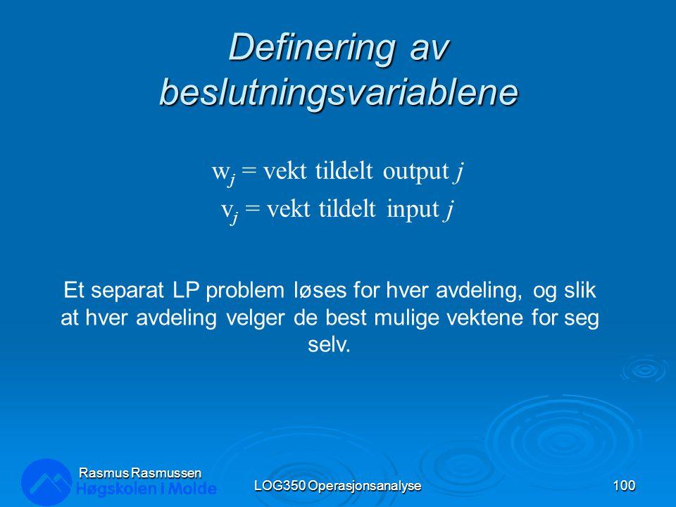 Definering av beslutningsvariablene LOG350 Operasjonsanalyse100 Rasmus Rasmussen w j = vekt tildelt output j v j = vekt tildelt input j Et separat LP
