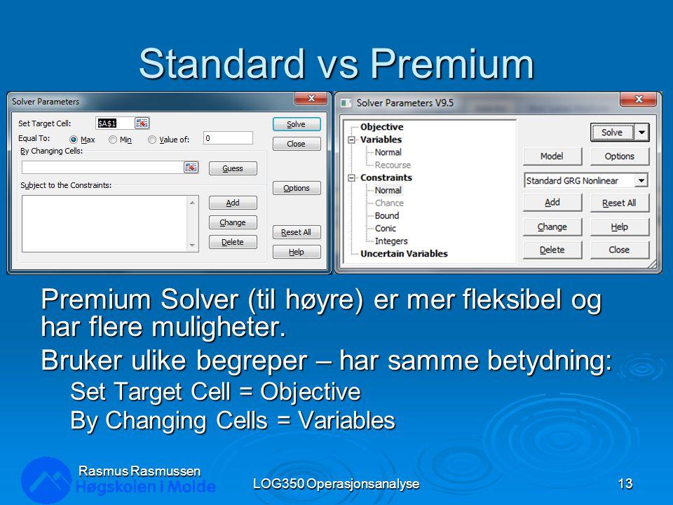 Standard vs Premium Premium Solver (til høyre) er mer fleksibel og har flere muligheter. Bruker ulike begreper – har samme betydning: Set Target Cell