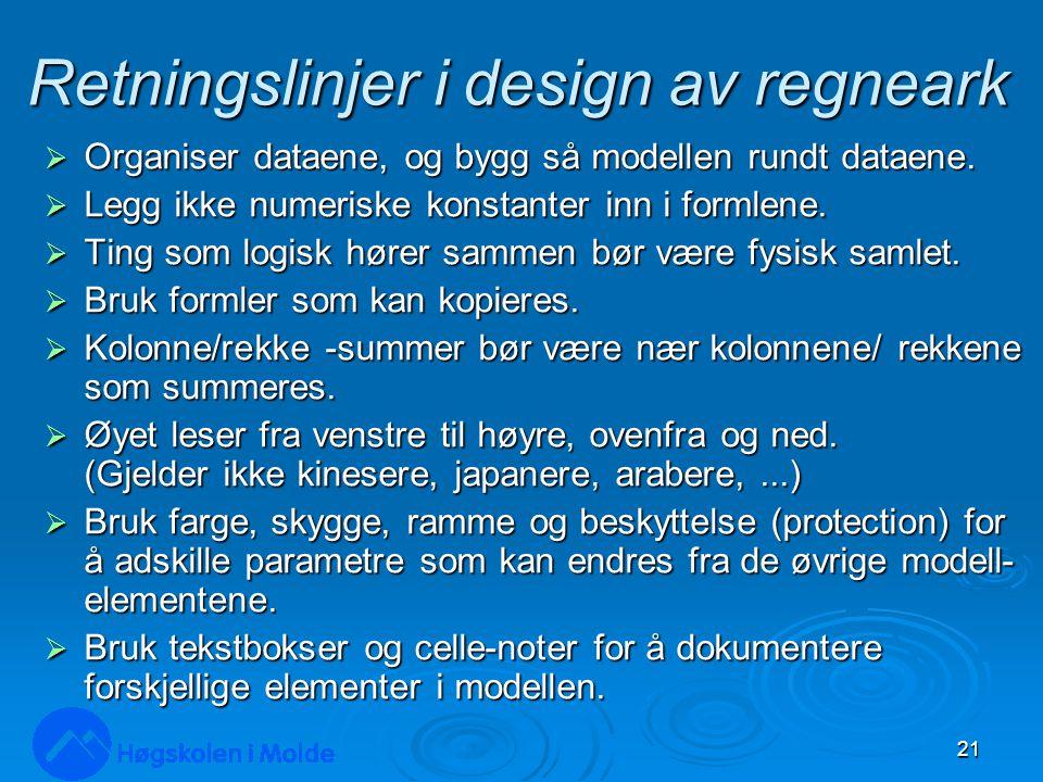 Retningslinjer i design av regneark  Organiser dataene, og bygg så modellen rundt dataene.