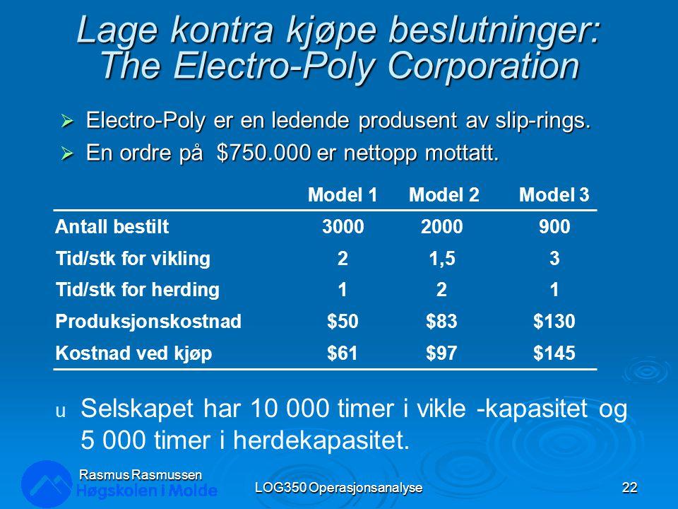 Lage kontra kjøpe beslutninger: The Electro-Poly Corporation  Electro-Poly er en ledende produsent av slip-rings.  En ordre på $750.000 er nettopp m