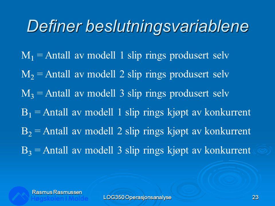 Definer beslutningsvariablene LOG350 Operasjonsanalyse23 Rasmus Rasmussen M 1 = Antall av modell 1 slip rings produsert selv M 2 = Antall av modell 2
