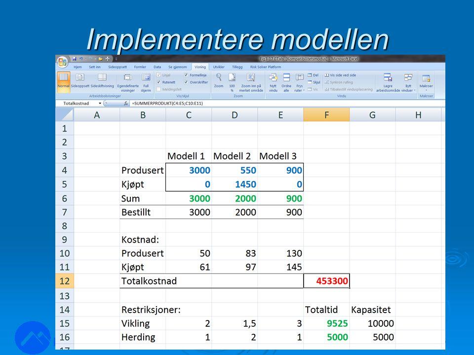 Implementere modellen LOG350 Operasjonsanalyse26 Rasmus Rasmussen