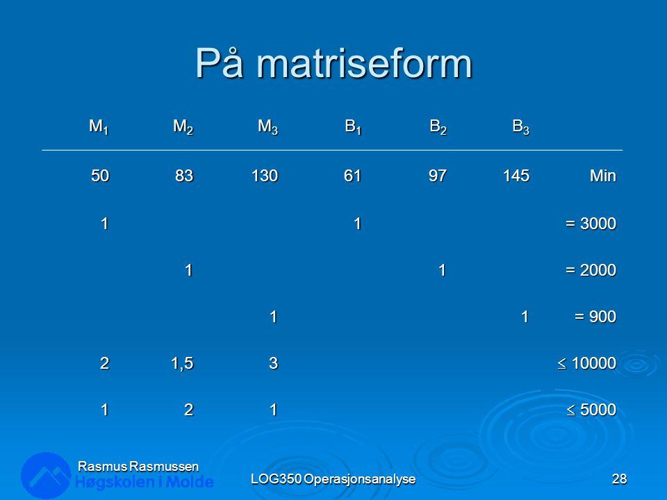 På matriseform LOG350 Operasjonsanalyse28 Rasmus Rasmussen M1M1M1M1 M2M2M2M2 M3M3M3M3 B1B1B1B1 B2B2B2B2 B3B3B3B3 50831306197145Min 11 = 3000 11 = 2000 11 = 900 21,53  10000 121  5000