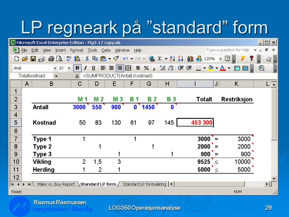LP regneark på standard form LOG350 Operasjonsanalyse29 Rasmus Rasmussen