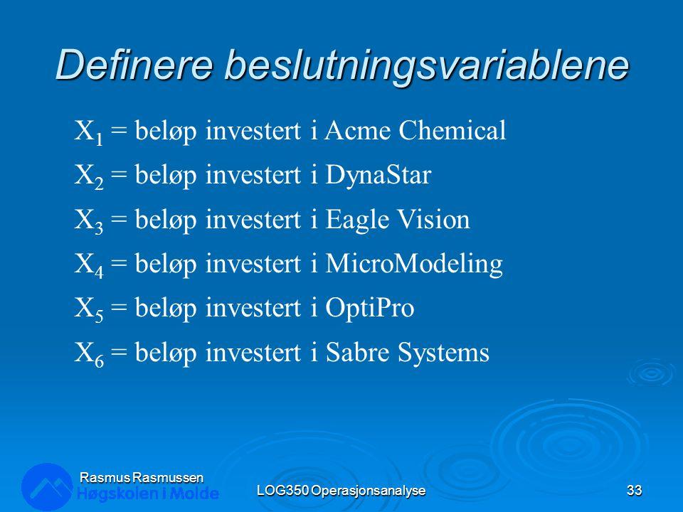 Definere beslutningsvariablene LOG350 Operasjonsanalyse33 Rasmus Rasmussen X 1 = beløp investert i Acme Chemical X 2 = beløp investert i DynaStar X 3 = beløp investert i Eagle Vision X 4 = beløp investert i MicroModeling X 5 = beløp investert i OptiPro X 6 = beløp investert i Sabre Systems