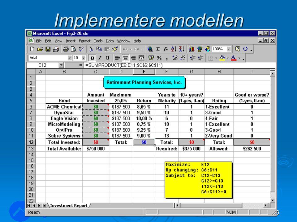Implementere modellen LOG350 Operasjonsanalyse36 Rasmus Rasmussen