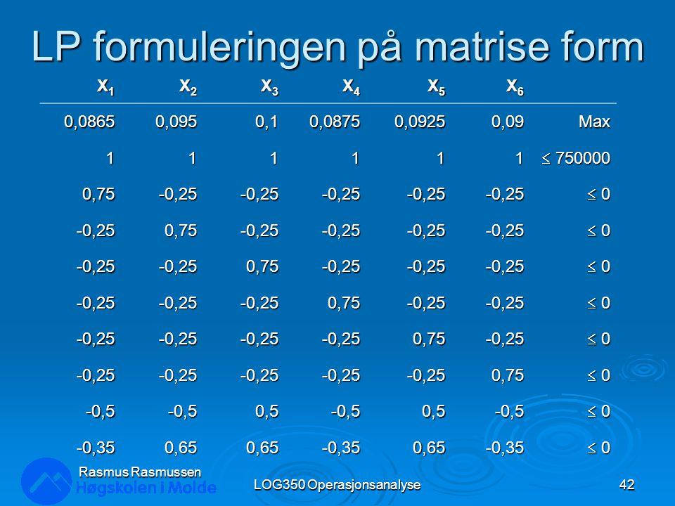 LP formuleringen på matrise form LOG350 Operasjonsanalyse42 Rasmus Rasmussen X1X1X1X1 X2X2X2X2 X3X3X3X3 X4X4X4X4 X5X5X5X5 X6X6X6X6 0,0865 0,0950,10,08750,09250,09Max 111111  750000 0,75-0,25-0,25-0,25-0,25-0,25  0 0 0 0 -0,250,75-0,25-0,25-0,25-0,25  0 0 0 0 -0,25-0,250,75-0,25-0,25-0,25  0 0 0 0 -0,25-0,25-0,250,75-0,25-0,25  0 0 0 0 -0,25-0,25-0,25-0,250,75-0,25  0 0 0 0 -0,25-0,25-0,25-0,25-0,250,75  0 0 0 0 -0,5-0,50,5-0,50,5-0,5  0 0 0 0 -0,350,650,65-0,350,65-0,35  0 0 0 0