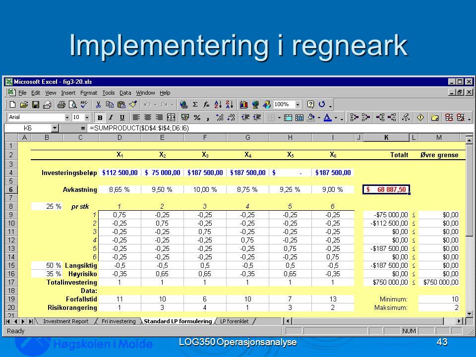 Implementering i regneark LOG350 Operasjonsanalyse43 Rasmus Rasmussen