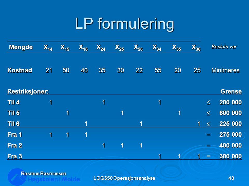 LP formulering Mengde X 14 X 15 X 16 X 24 X 25 X 26 X 34 X 35 X 36 Beslutn.var Kostnad215040353022552025Minimeres Restriksjoner: Grense Til 4 111 200 000 Til 5 111 600 000 Til 6 1 1 1 225 000 Fra 1 111= 275 000 Fra 2 111= 400 000 Fra 3 111= 300 000 Rasmus Rasmussen LOG350 Operasjonsanalyse48