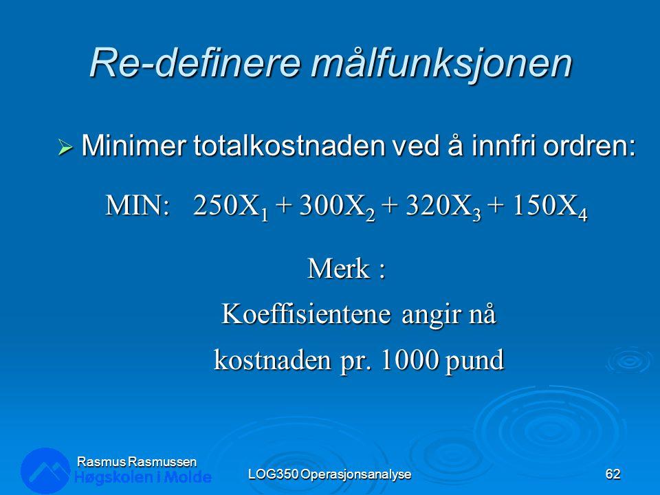 Re-definere målfunksjonen  Minimer totalkostnaden ved å innfri ordren: MIN: 250X 1 + 300X 2 + 320X 3 + 150X 4 Merk : Koeffisientene angir nå kostnade