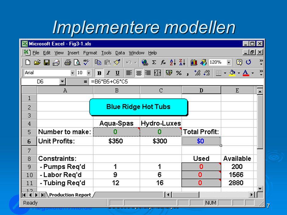 Implementere modellen LOG350 Operasjonsanalyse7 Rasmus Rasmussen