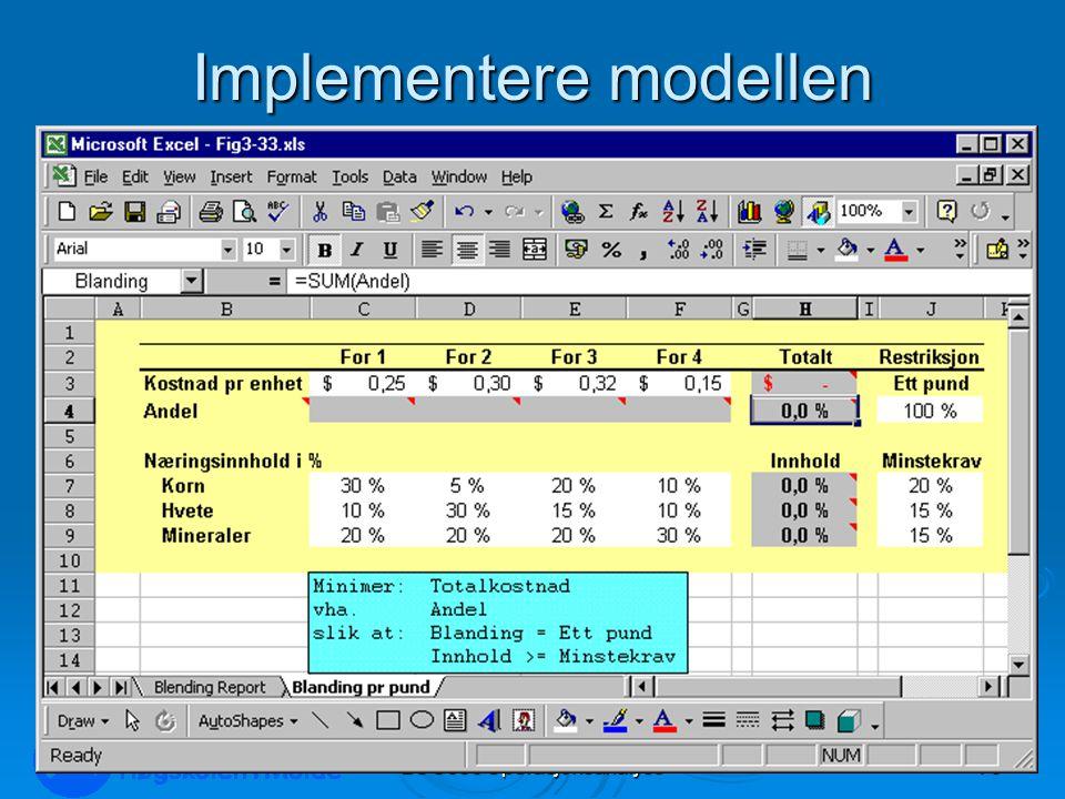 Implementere modellen LOG350 Operasjonsanalyse73 Rasmus Rasmussen