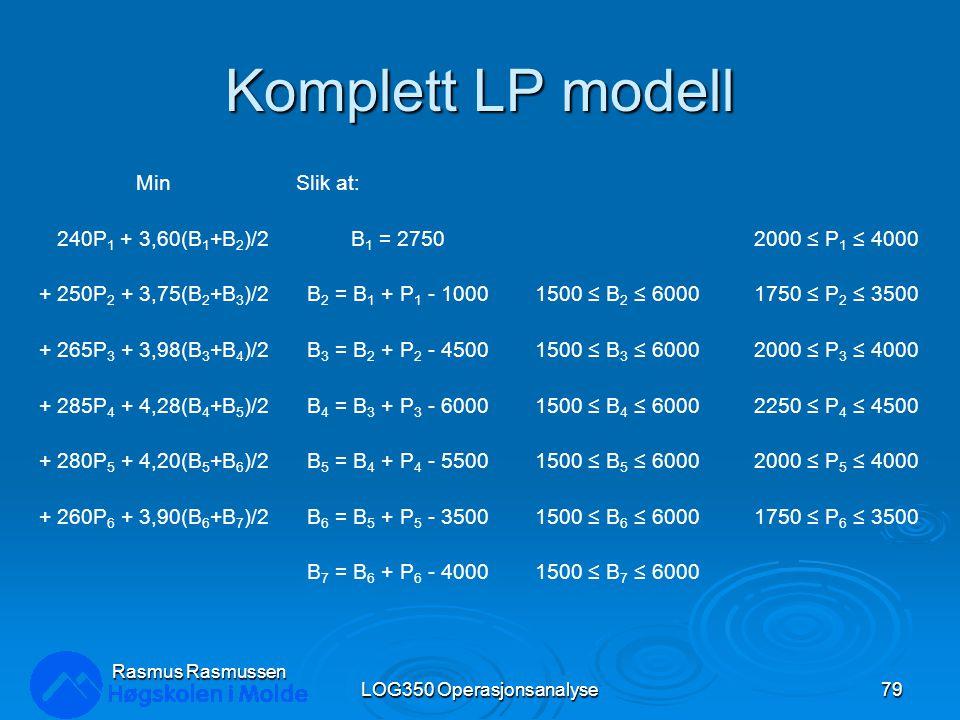 Komplett LP modell MinSlik at: 240P 1 + 3,60(B 1 +B 2 )/2B 1 = 27502000 ≤ P 1 ≤ 4000 + 250P 2 + 3,75(B 2 +B 3 )/2B 2 = B 1 + P 1 - 10001500 ≤ B 2 ≤ 60001750 ≤ P 2 ≤ 3500 + 265P 3 + 3,98(B 3 +B 4 )/2B 3 = B 2 + P 2 - 45001500 ≤ B 3 ≤ 60002000 ≤ P 3 ≤ 4000 + 285P 4 + 4,28(B 4 +B 5 )/2B 4 = B 3 + P 3 - 60001500 ≤ B 4 ≤ 60002250 ≤ P 4 ≤ 4500 + 280P 5 + 4,20(B 5 +B 6 )/2B 5 = B 4 + P 4 - 55001500 ≤ B 5 ≤ 60002000 ≤ P 5 ≤ 4000 + 260P 6 + 3,90(B 6 +B 7 )/2B 6 = B 5 + P 5 - 35001500 ≤ B 6 ≤ 60001750 ≤ P 6 ≤ 3500 B 7 = B 6 + P 6 - 40001500 ≤ B 7 ≤ 6000 LOG350 Operasjonsanalyse79 Rasmus Rasmussen