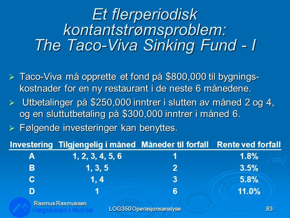 Et flerperiodisk kontantstrømsproblem: The Taco-Viva Sinking Fund - I  Taco-Viva må opprette et fond på $800,000 til bygnings- kostnader for en ny re