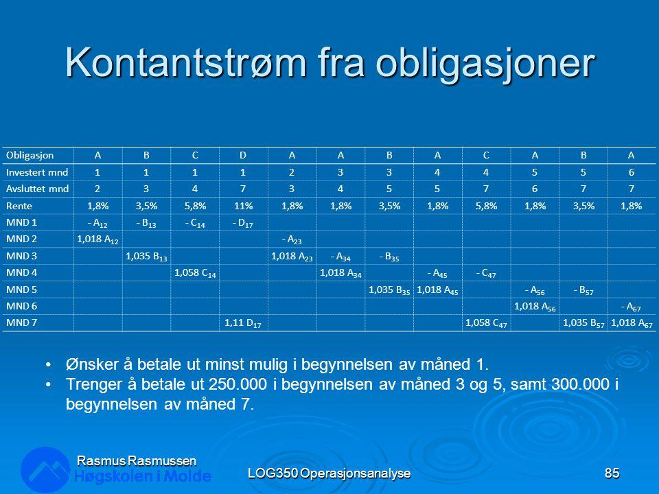 Kontantstrøm fra obligasjoner LOG350 Operasjonsanalyse85 Rasmus Rasmussen ObligasjonABCDAABACABA Investert mnd111123344556 Avsluttet mnd234734557677 Rente1,8%3,5%5,8%11%1,8% 3,5%1,8%5,8%1,8%3,5%1,8% MND 1- A 12 - B 13 - C 14 - D 17 MND 21,018 A 12 - A 23 MND 31,035 B 13 1,018 A 23 - A 34 - B 35 MND 41,058 C 14 1,018 A 34 - A 45 - C 47 MND 51,035 B 35 1,018 A 45 - A 56 - B 57 MND 61,018 A 56 - A 67 MND 71,11 D 17 1,058 C 47 1,035 B 57 1,018 A 67 Ønsker å betale ut minst mulig i begynnelsen av måned 1.