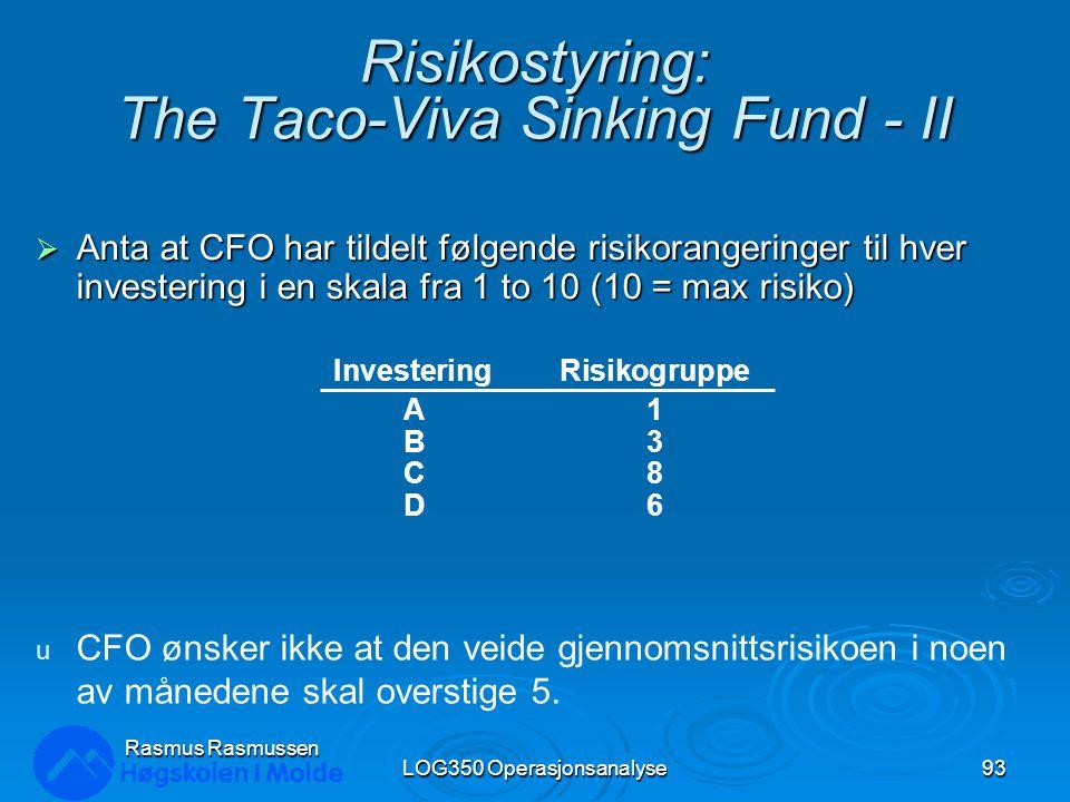 Risikostyring: The Taco-Viva Sinking Fund - II  Anta at CFO har tildelt følgende risikorangeringer til hver investering i en skala fra 1 to 10 (10 = max risiko) LOG350 Operasjonsanalyse93 Rasmus Rasmussen InvesteringRisikogruppe A1 B3 C8 D6 u CFO ønsker ikke at den veide gjennomsnittsrisikoen i noen av månedene skal overstige 5.