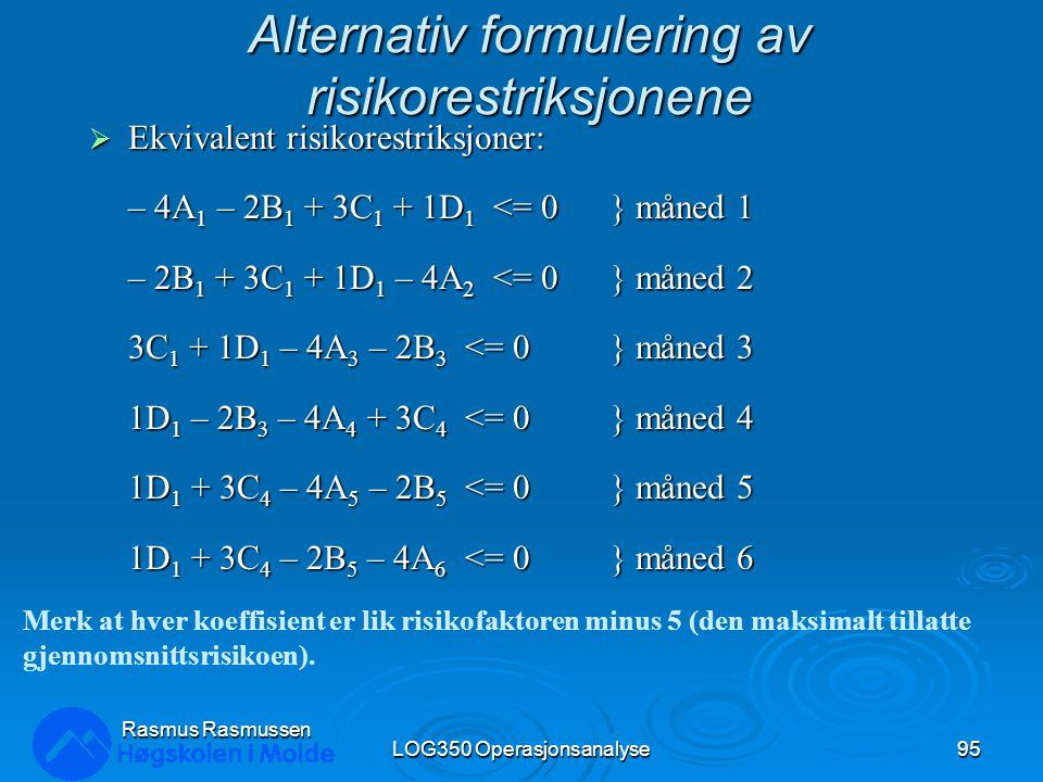 Alternativ formulering av risikorestriksjonene  Ekvivalent risikorestriksjoner: – 4A 1 – 2B 1 + 3C 1 + 1D 1 <= 0} måned 1 – 2B 1 + 3C 1 + 1D 1 – 4A 2 <= 0} måned 2 3C 1 + 1D 1 – 4A 3 – 2B 3 <= 0} måned 3 1D 1 – 2B 3 – 4A 4 + 3C 4 <= 0} måned 4 1D 1 + 3C 4 – 4A 5 – 2B 5 <= 0} måned 5 1D 1 + 3C 4 – 2B 5 – 4A 6 <= 0} måned 6 LOG350 Operasjonsanalyse95 Rasmus Rasmussen Merk at hver koeffisient er lik risikofaktoren minus 5 (den maksimalt tillatte gjennomsnittsrisikoen).