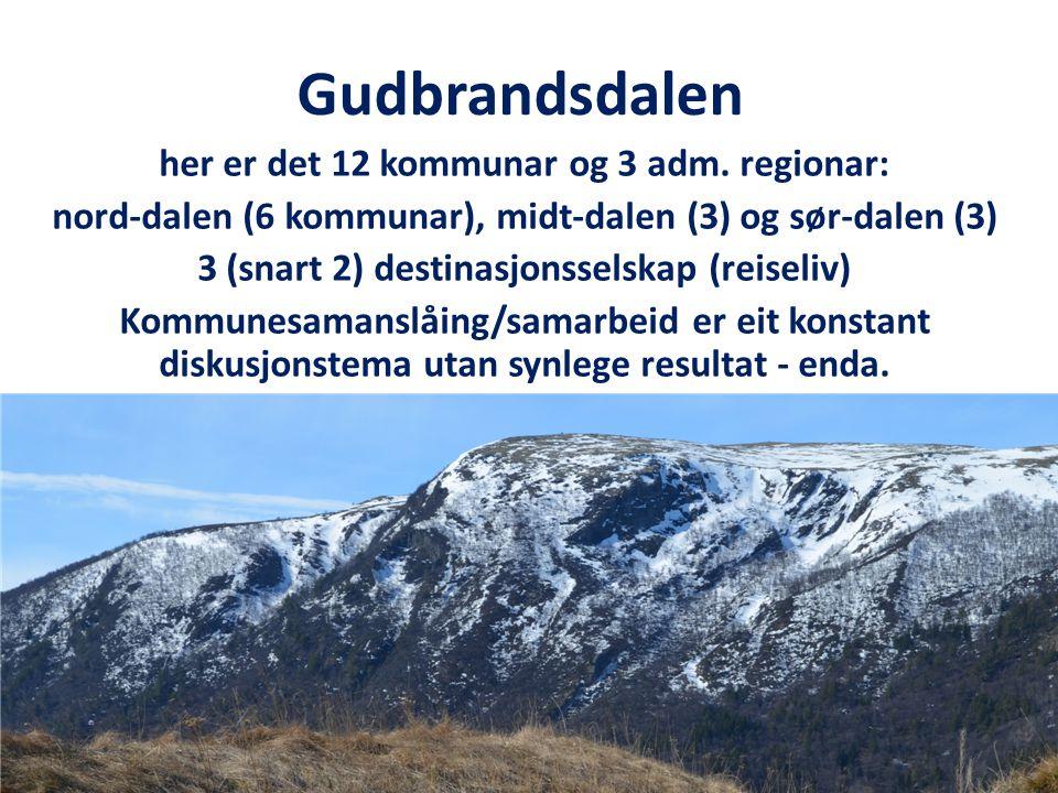 Gudbrandsdalen her er det 12 kommunar og 3 adm.