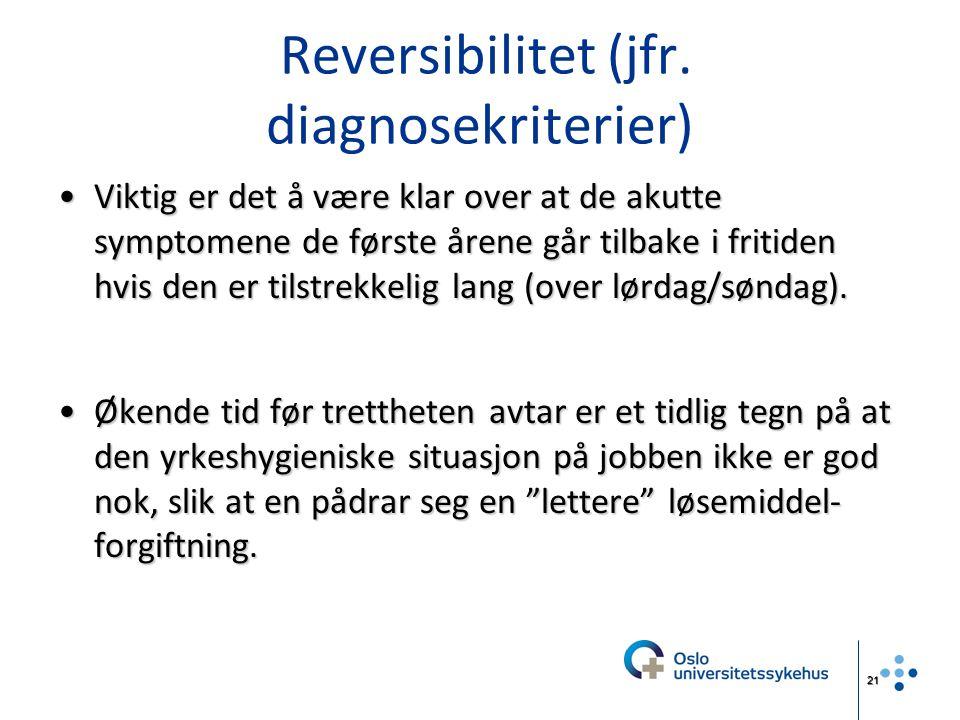 21 Reversibilitet (jfr. diagnosekriterier) Viktig er det å være klar over at de akutte symptomene de første årene går tilbake i fritiden hvis den er t