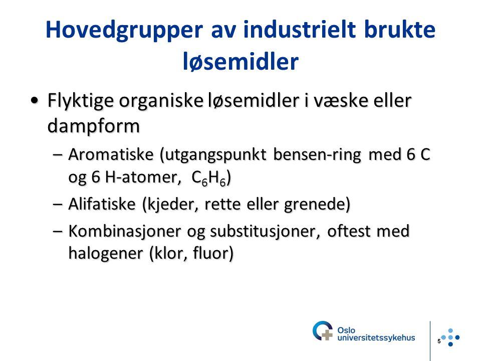 5 Hovedgrupper av industrielt brukte løsemidler Flyktige organiske løsemidler i væske eller dampformFlyktige organiske løsemidler i væske eller dampfo