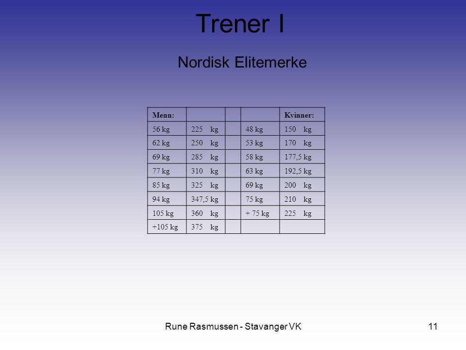 Rune Rasmussen - Stavanger VK11 Nordisk Elitemerke Trener I Menn: Kvinner: 56 kg225 kg 48 kg150 kg 62 kg250 kg 53 kg170 kg 69 kg285 kg 58 kg177,5 kg 77 kg310 kg 63 kg192,5 kg 85 kg325 kg 69 kg200 kg 94 kg347,5 kg 75 kg210 kg 105 kg360 kg + 75 kg225 kg +105 kg375 kg