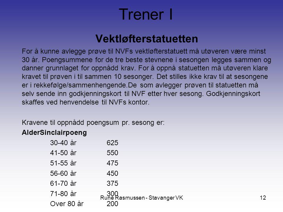 Rune Rasmussen - Stavanger VK12 Vektløfterstatuetten For å kunne avlegge prøve til NVFs vektløfterstatuett må utøveren være minst 30 år. Poengsummene