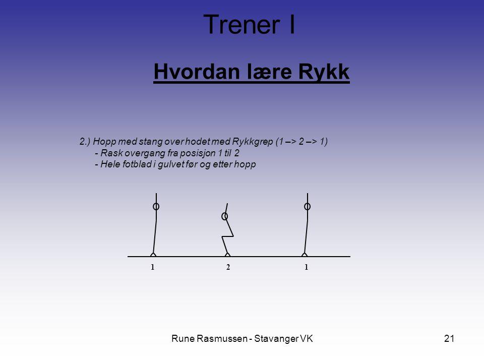Rune Rasmussen - Stavanger VK21 Hvordan lære Rykk Trener I 2.) Hopp med stang over hodet med Rykkgrep (1 –> 2 –> 1) - Rask overgang fra posisjon 1 til 2 - Hele fotblad i gulvet før og etter hopp 12 1