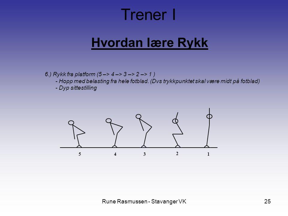 Rune Rasmussen - Stavanger VK25 Hvordan lære Rykk Trener I 6.) Rykk fra platform (5 –> 4 –> 3 –> 2 –> 1 ) - Hopp med belasting fra hele fotblad.