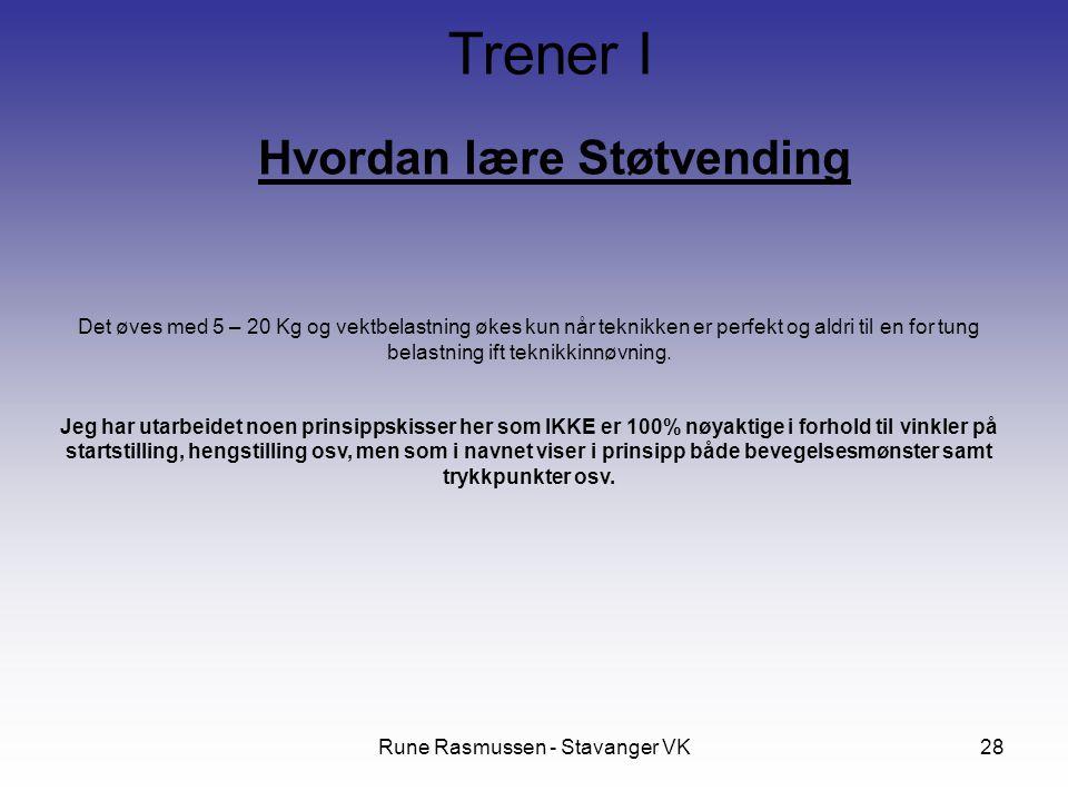 Rune Rasmussen - Stavanger VK28 Hvordan lære Støtvending Trener I Det øves med 5 – 20 Kg og vektbelastning økes kun når teknikken er perfekt og aldri til en for tung belastning ift teknikkinnøvning.