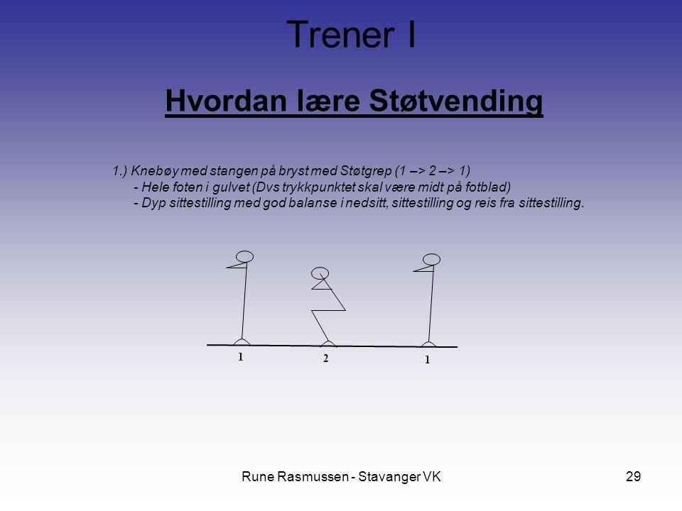 Rune Rasmussen - Stavanger VK29 Hvordan lære Støtvending Trener I 1.) Knebøy med stangen på bryst med Støtgrep (1 –> 2 –> 1) - Hele foten i gulvet (Dvs trykkpunktet skal være midt på fotblad) - Dyp sittestilling med god balanse i nedsitt, sittestilling og reis fra sittestilling.