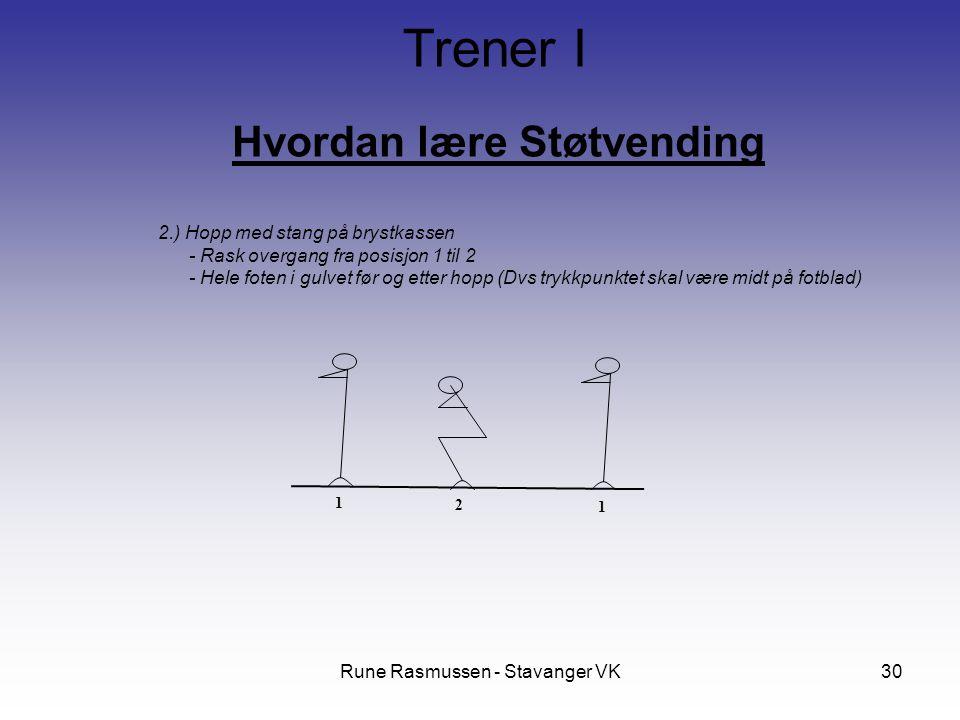 Rune Rasmussen - Stavanger VK30 Hvordan lære Støtvending Trener I 2.) Hopp med stang på brystkassen - Rask overgang fra posisjon 1 til 2 - Hele foten