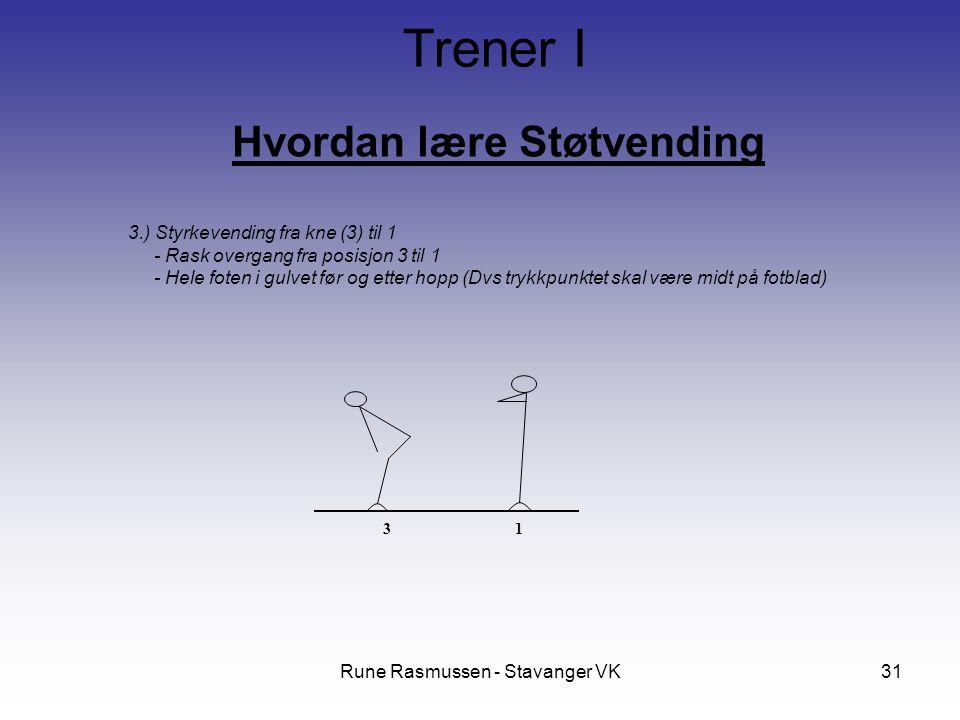 Rune Rasmussen - Stavanger VK31 Hvordan lære Støtvending Trener I 3.) Styrkevending fra kne (3) til 1 - Rask overgang fra posisjon 3 til 1 - Hele foten i gulvet før og etter hopp (Dvs trykkpunktet skal være midt på fotblad) 31