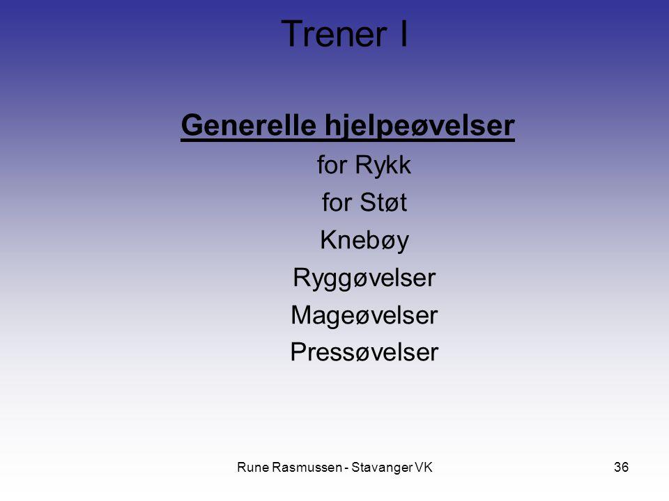 Rune Rasmussen - Stavanger VK36 Generelle hjelpeøvelser for Rykk for Støt Knebøy Ryggøvelser Mageøvelser Pressøvelser Trener I