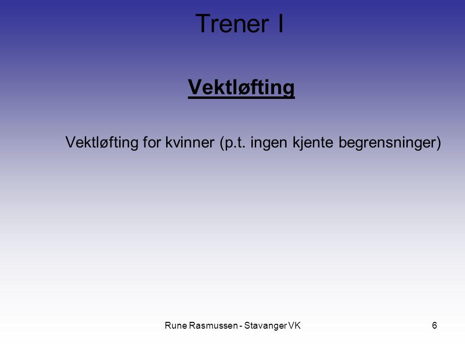 Rune Rasmussen - Stavanger VK6 Vektløfting Vektløfting for kvinner (p.t. ingen kjente begrensninger) Trener I