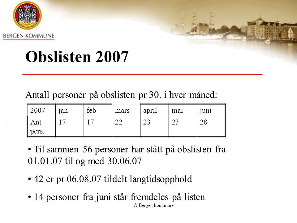 © Bergen kommune Obs listen Oppholdssted for personer på listen pr juni –07 som ikke er tildelt langtidsopphold pr 06.08.07: –Bofellesskap: 1 –Aldershjem: 1 –Korttidsopphold sykehjem: 4 –Omsorgsbolig: 3 –Eget hjem: 5