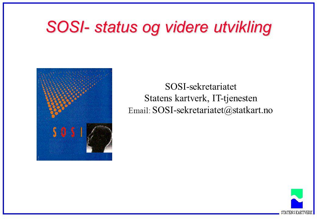Agenda  Målsetting  Utvikling  Organisering  Samordning  Nyheter versjon 3.1  SOSI-Database (SOSI-DB)  SOSI-forvaltning  ISO/TC 211 framdrift - påvirkning  Produktspesifikasjoner  Kvalitetssikring  Videre arbeid