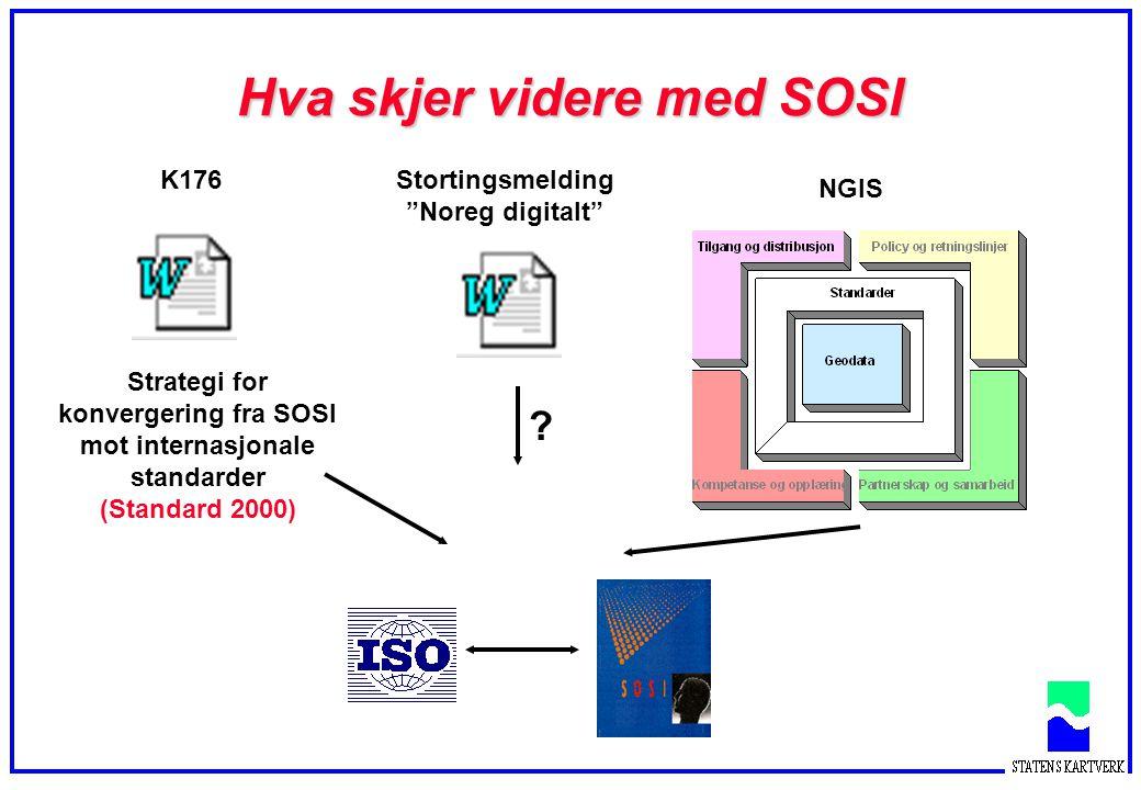 """Hva skjer videre med SOSI Stortingsmelding """"Noreg digitalt"""" Strategi for konvergering fra SOSI mot internasjonale standarder (Standard 2000) NGIS K176"""