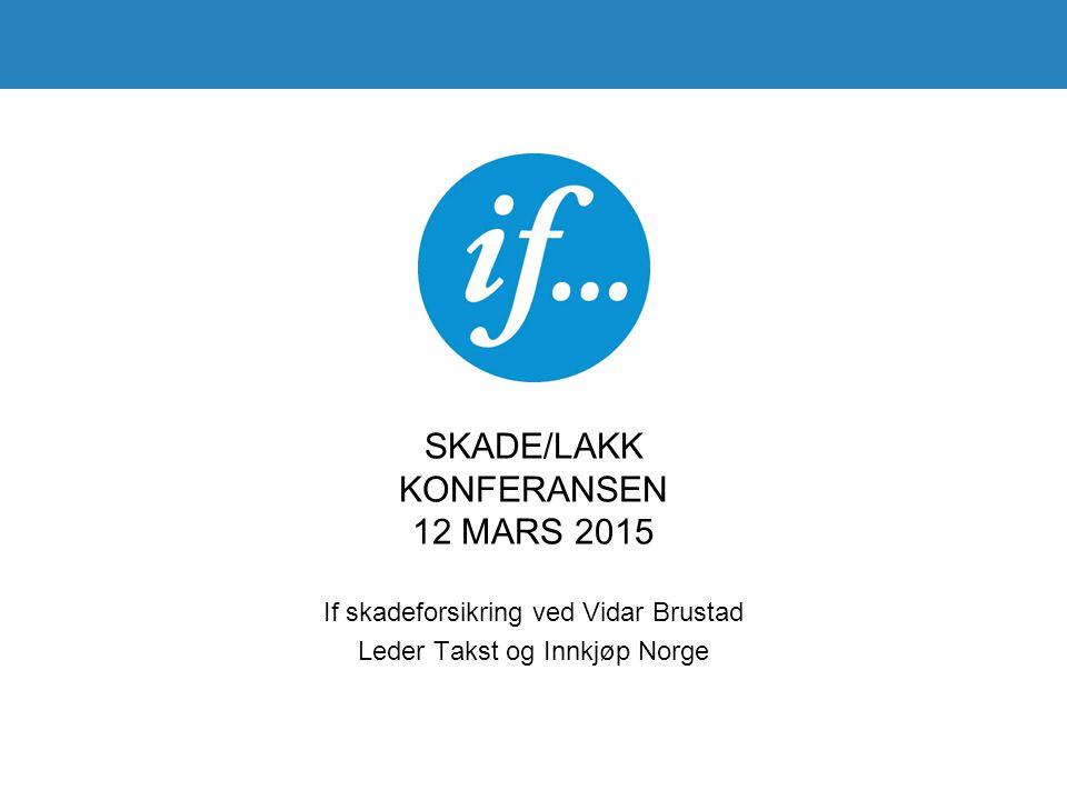SKADE/LAKK KONFERANSEN 12 MARS 2015 If skadeforsikring ved Vidar Brustad Leder Takst og Innkjøp Norge