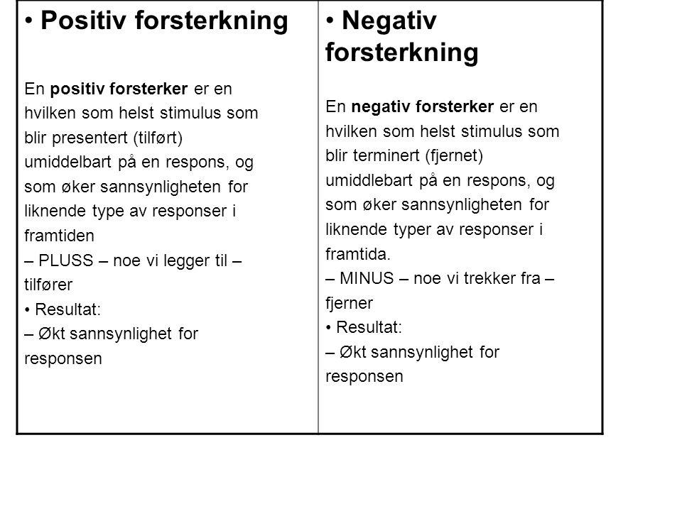 Positiv forsterkning En positiv forsterker er en hvilken som helst stimulus som blir presentert (tilført) umiddelbart på en respons, og som øker sannsynligheten for liknende type av responser i framtiden – PLUSS – noe vi legger til – tilfører Resultat: – Økt sannsynlighet for responsen Negativ forsterkning En negativ forsterker er en hvilken som helst stimulus som blir terminert (fjernet) umiddlebart på en respons, og som øker sannsynligheten for liknende typer av responser i framtida.