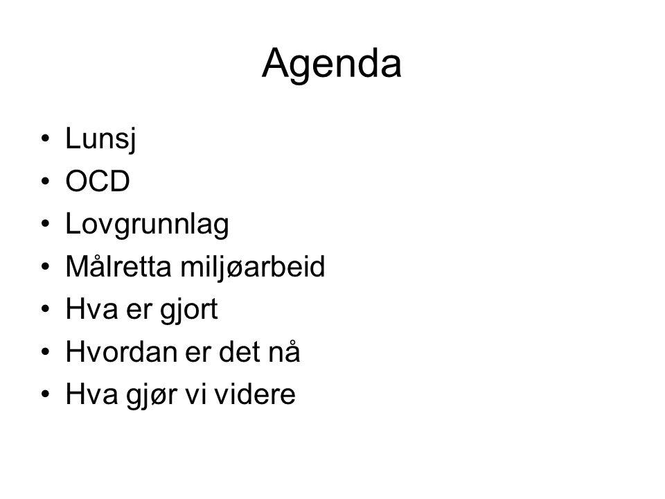 Agenda Lunsj OCD Lovgrunnlag Målretta miljøarbeid Hva er gjort Hvordan er det nå Hva gjør vi videre