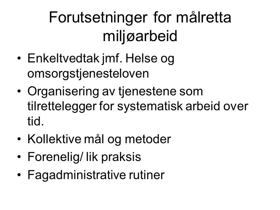 Forutsetninger for målretta miljøarbeid Enkeltvedtak jmf.